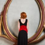 Argentine tango dress in black jersey with red lace corset with black lining
