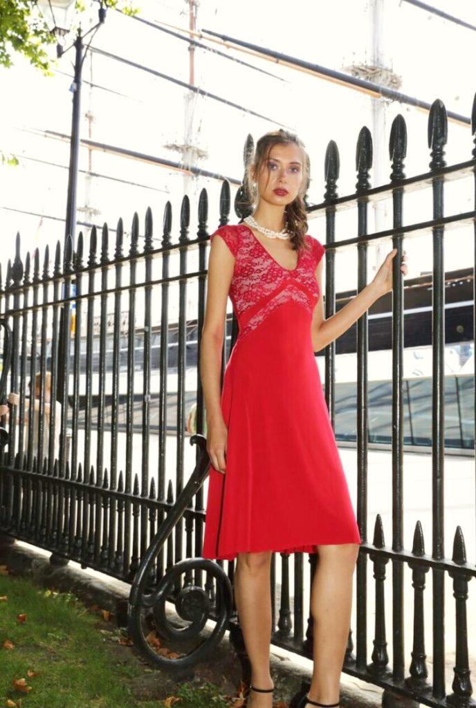 V Argentine Tango Dress Red slimming dress plus sizes