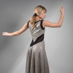 Silver Argentine tango dress natural materials plus sizes slimming effect