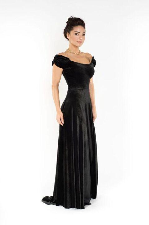 Black velvet long dress