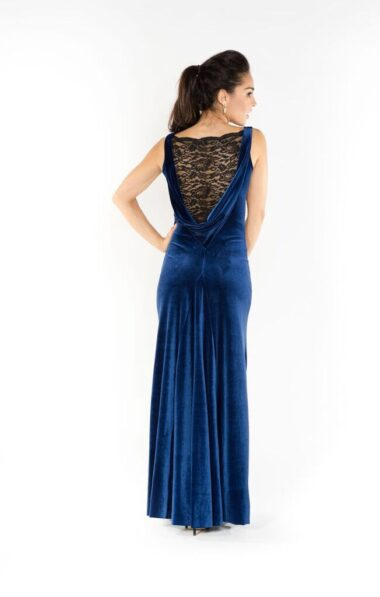 blue velvet evening gown