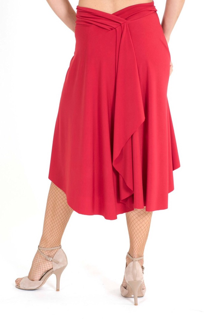 The lower portion of the red Tango dress