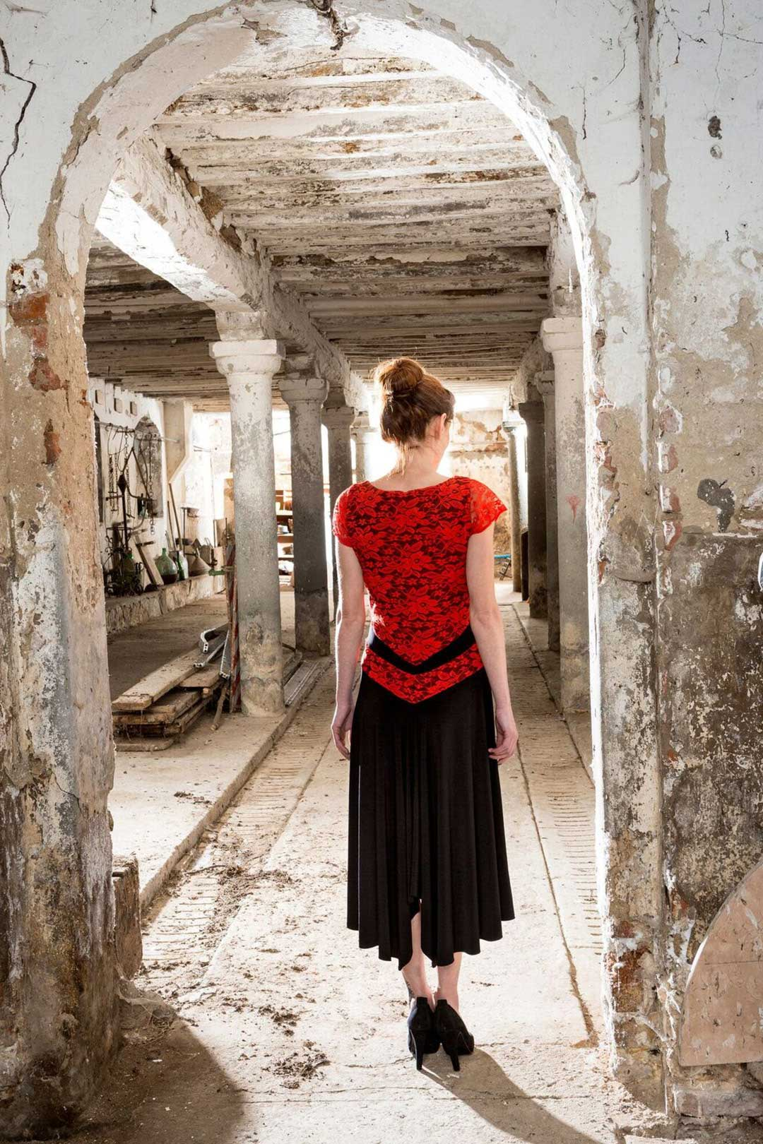 A V Argentine Tango dress with a black jersey and a red lace