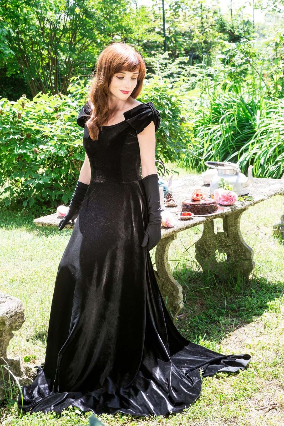 A beautiful black velvet gown