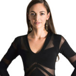 Black argentine tango dress with long sleeves slimming