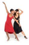A pair of Ferrari tango dresses in motion