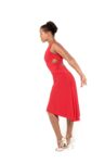 A side view of of a red Ferrari tango dress