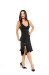 A woman walking with her black Ferrari tango dress