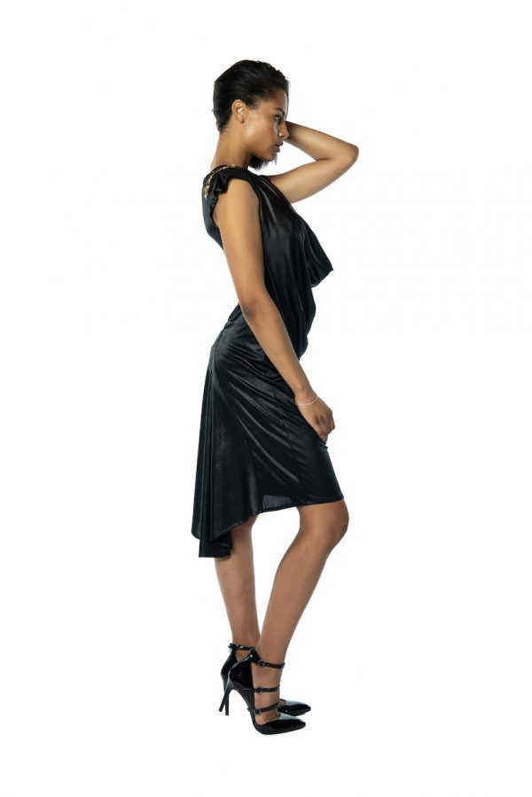 Black Metallic Tango Dress