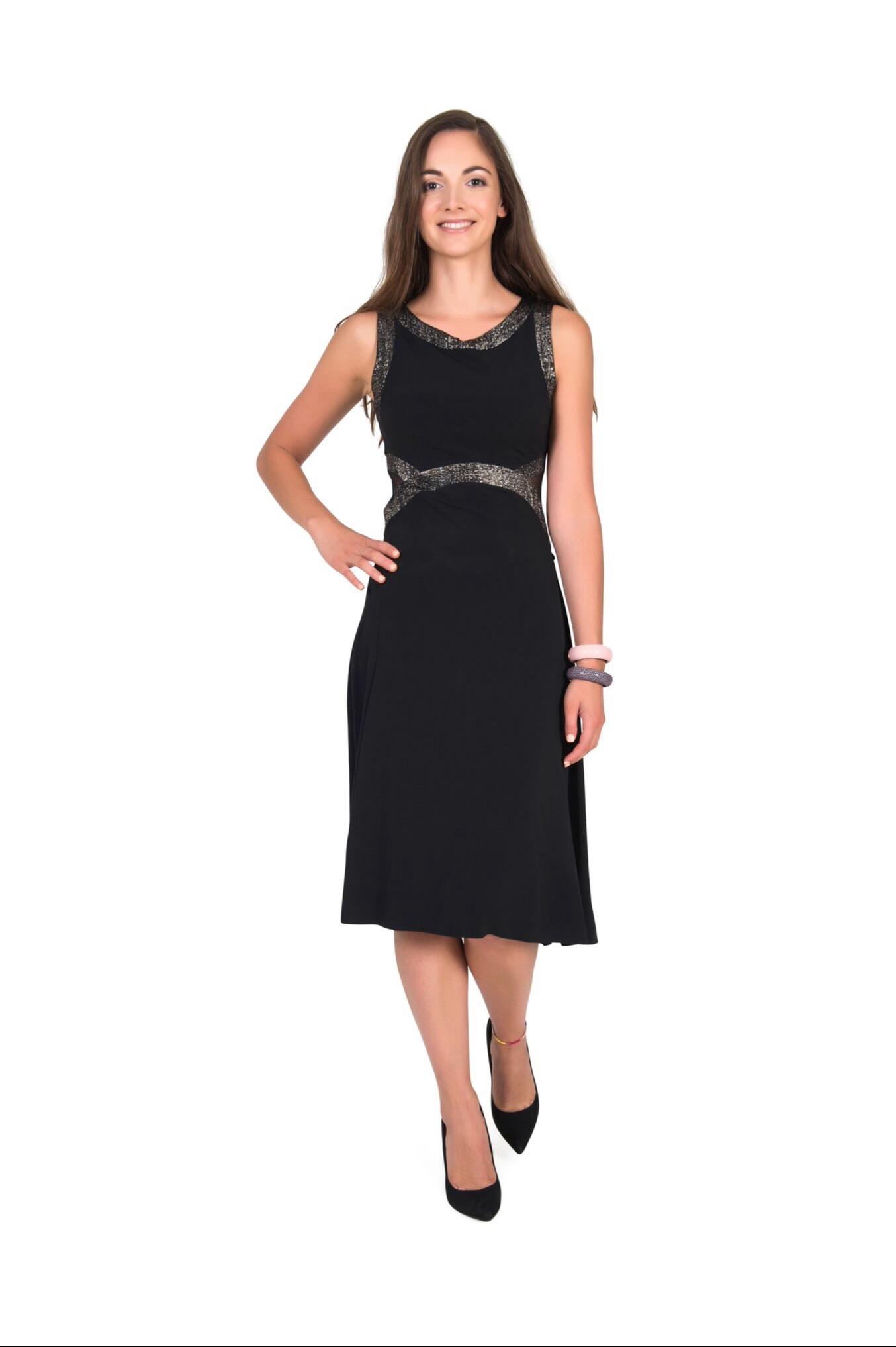 A front view of an elegant black Tango dress