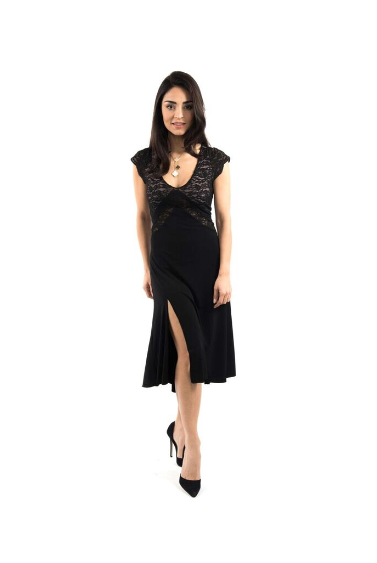 Black V Argentine Tango Dress
