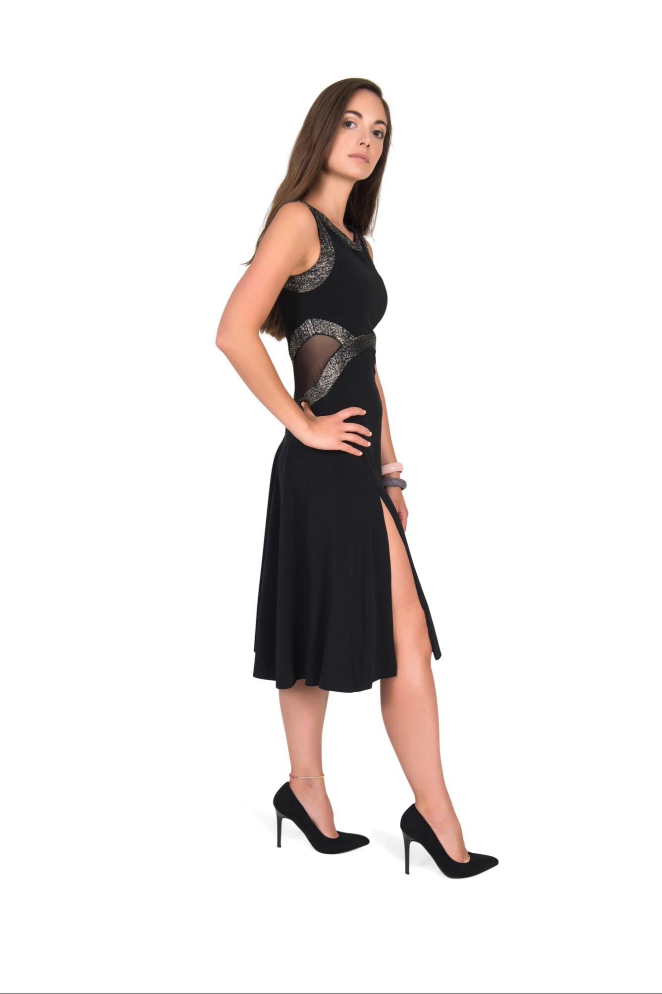 A side view of an elegant black Tango dress