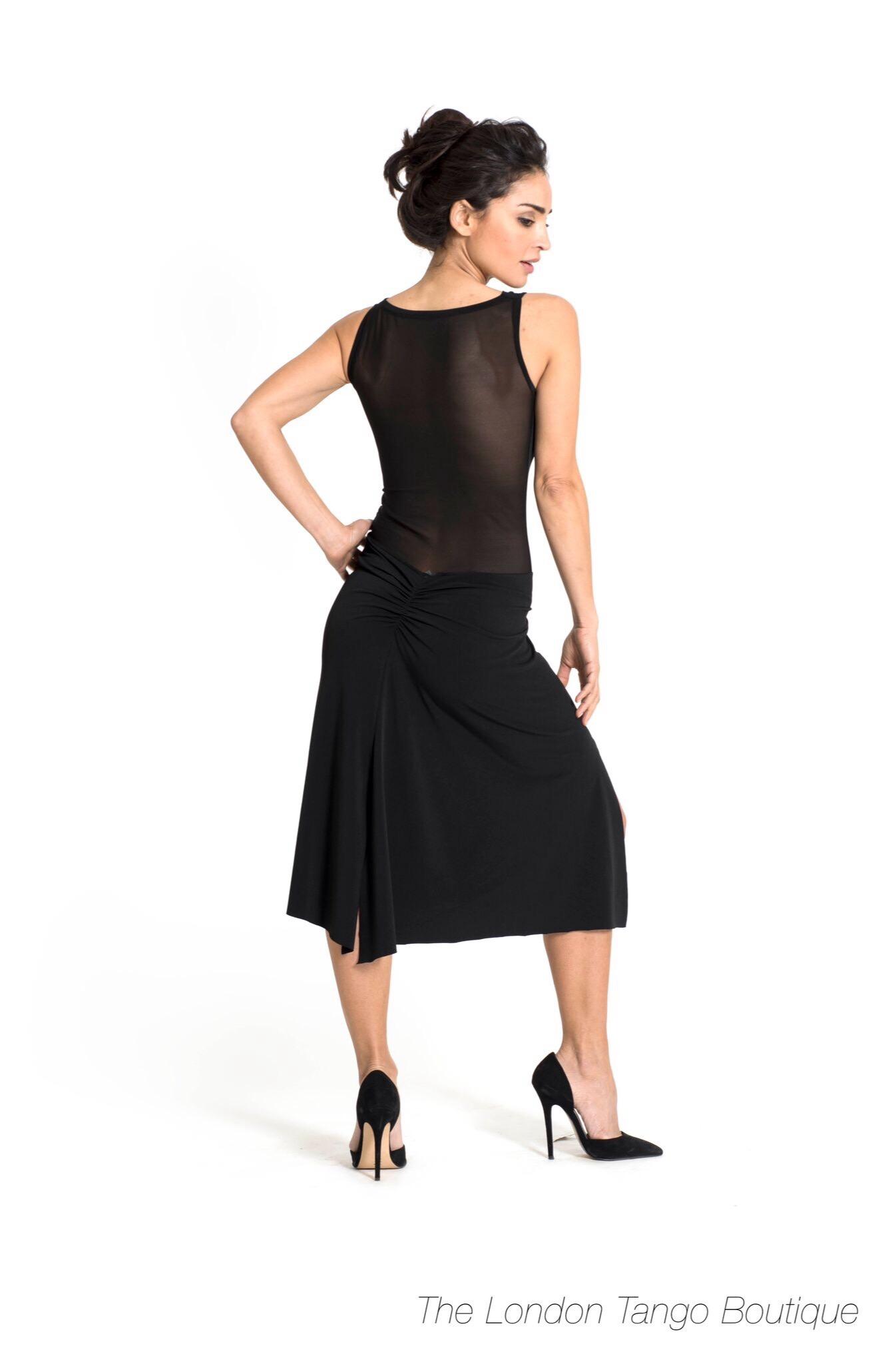 A draped neckline tango dress