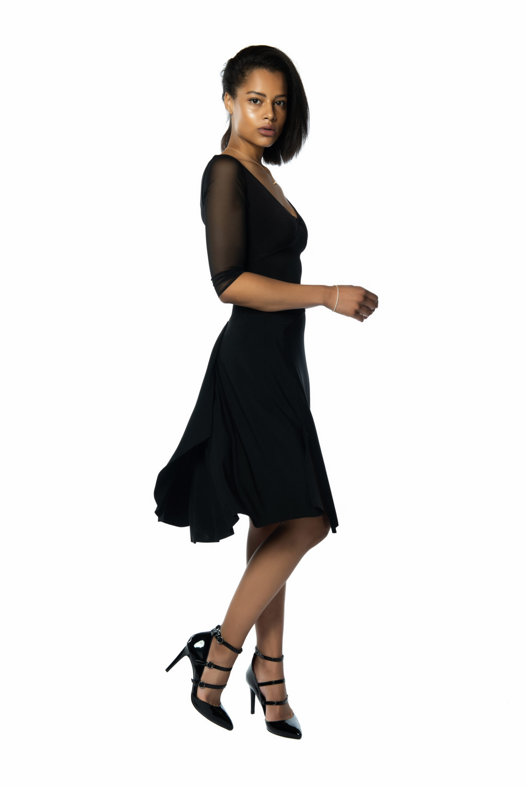 A Ferrari tango dress with tulle sleeves