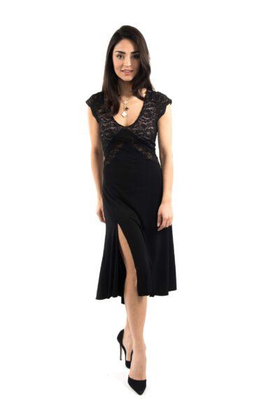 A woman wearing a black Tango dress