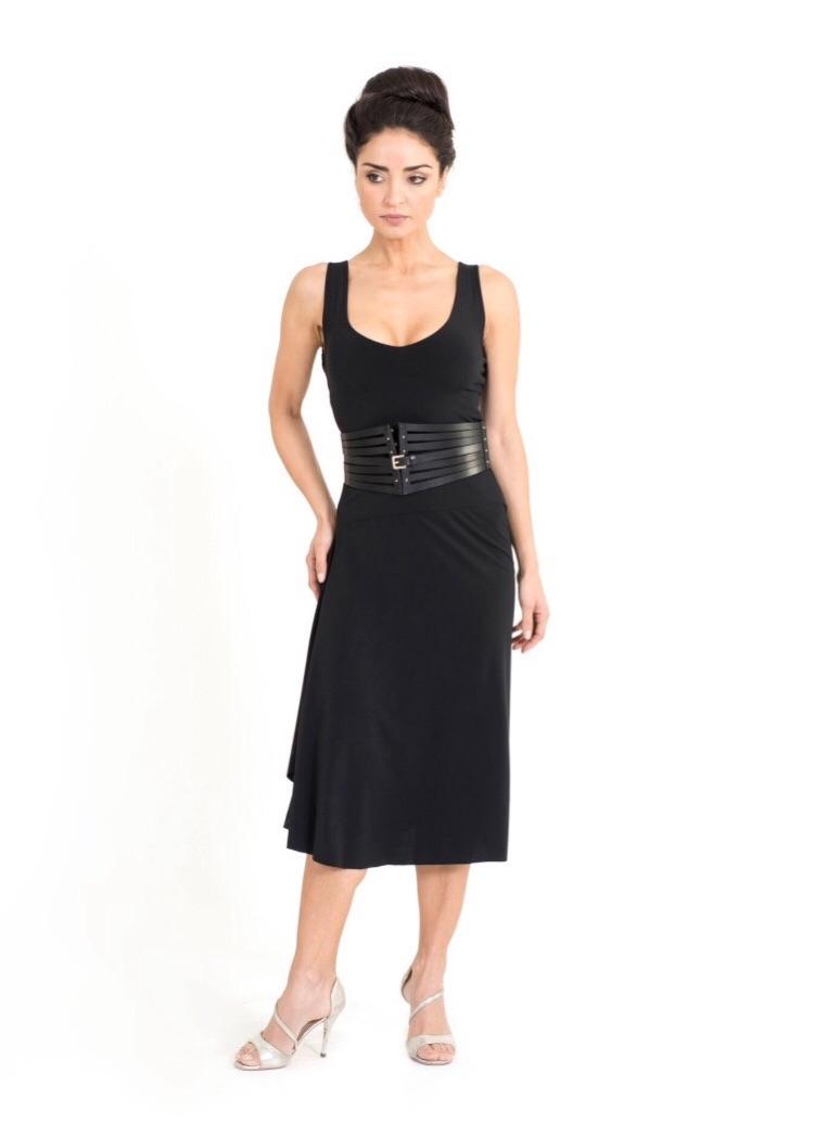 A black simple and elegant tango dress