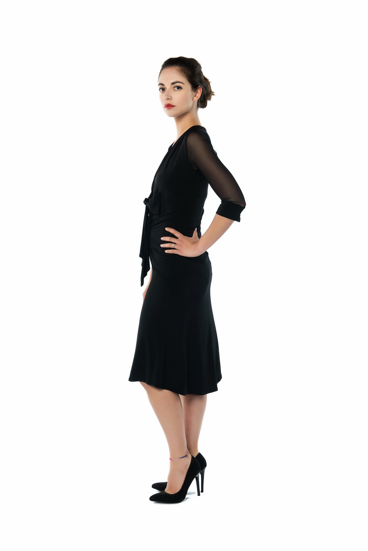 Bow tango dress black with tulle sleeves