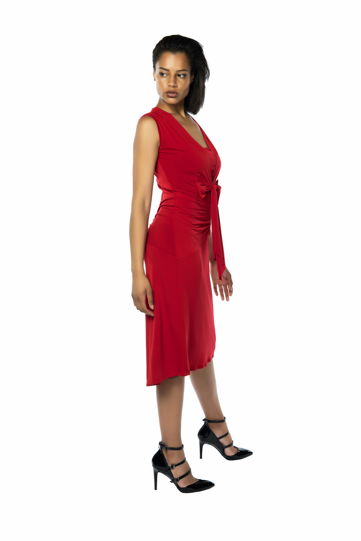 Bow tango dress red sleeveless