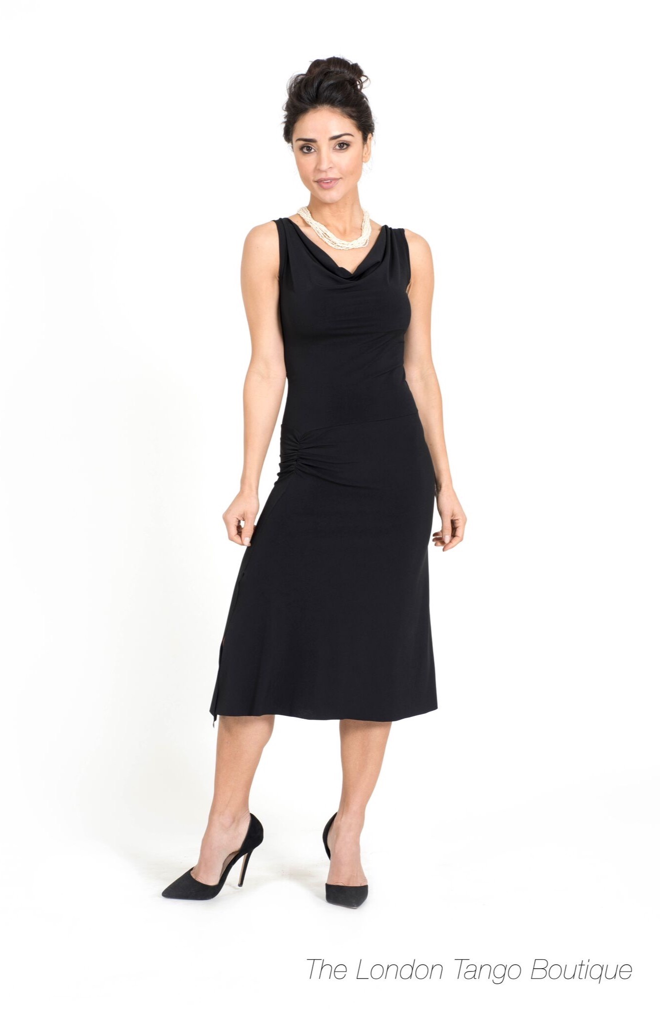 black tango dress with draped neckline