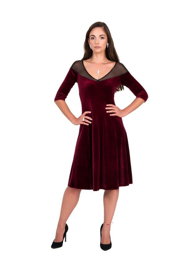 Bordeaux Velvet Tango Dress