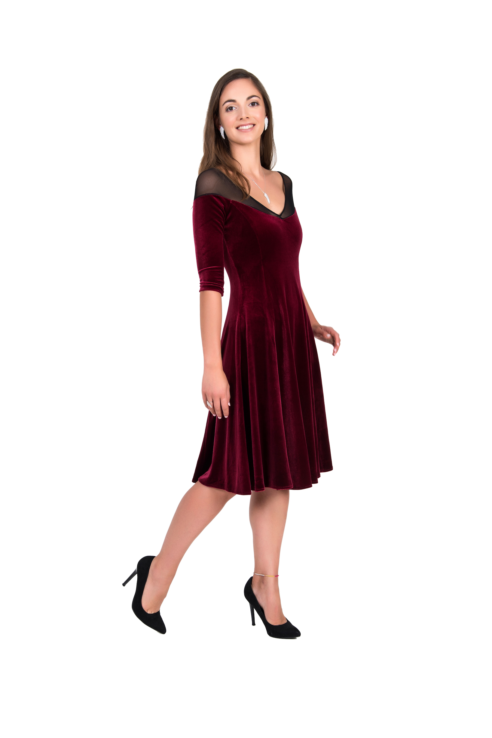 Bordeaux Velvet Tango Dress