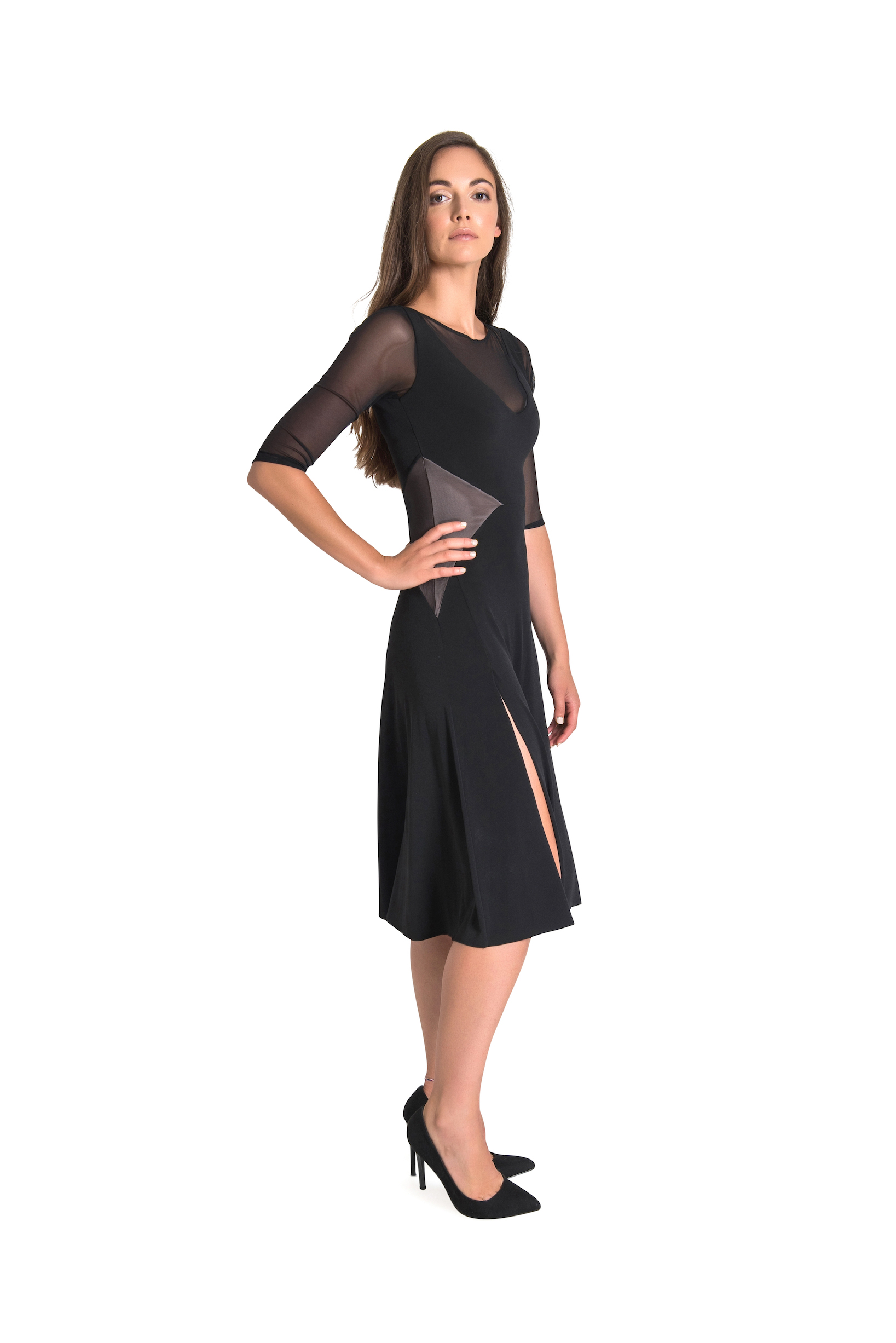 Long sleeves Tango Dress black jersey and tulle