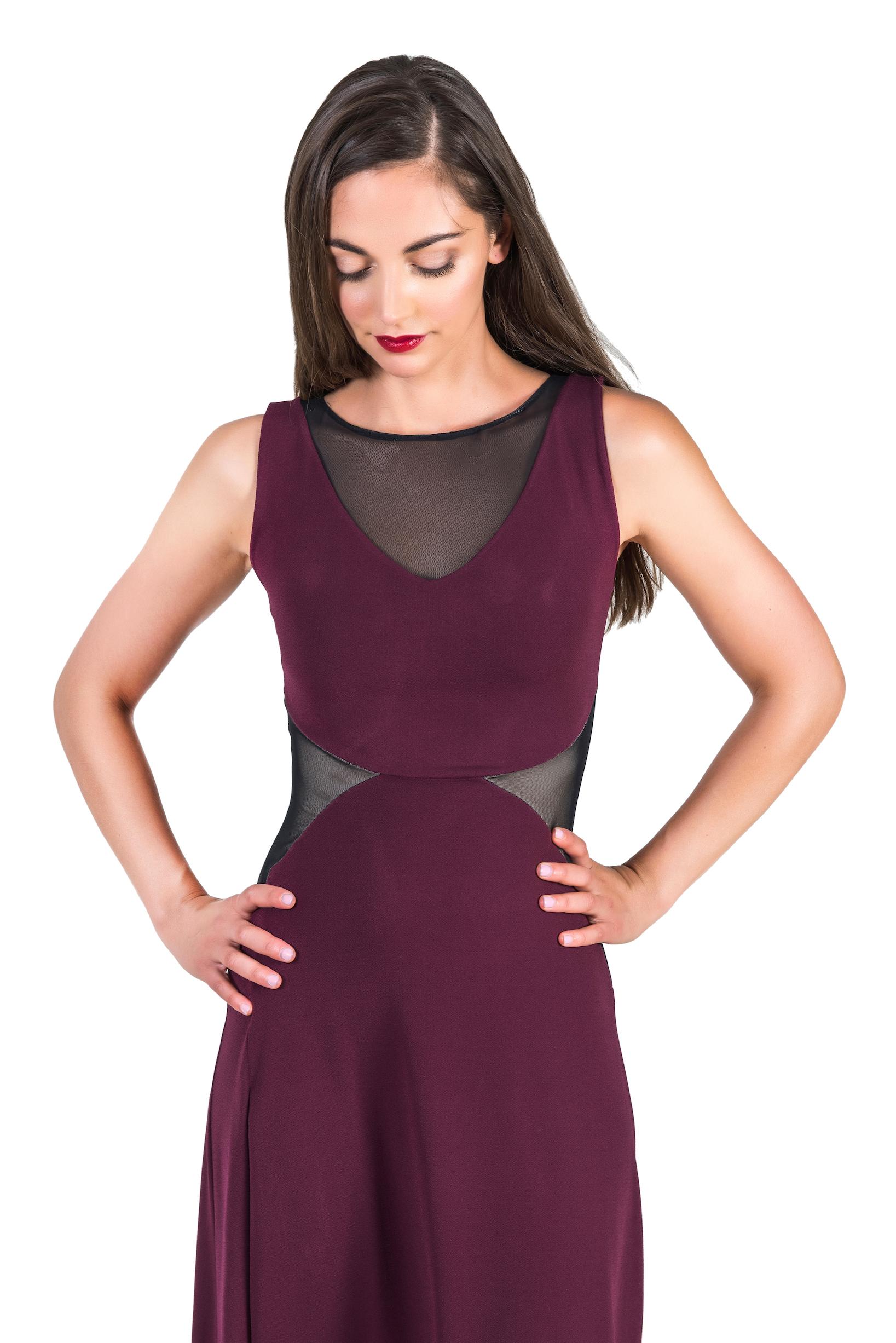 Verona Tango Dress in eggplant and black tulle