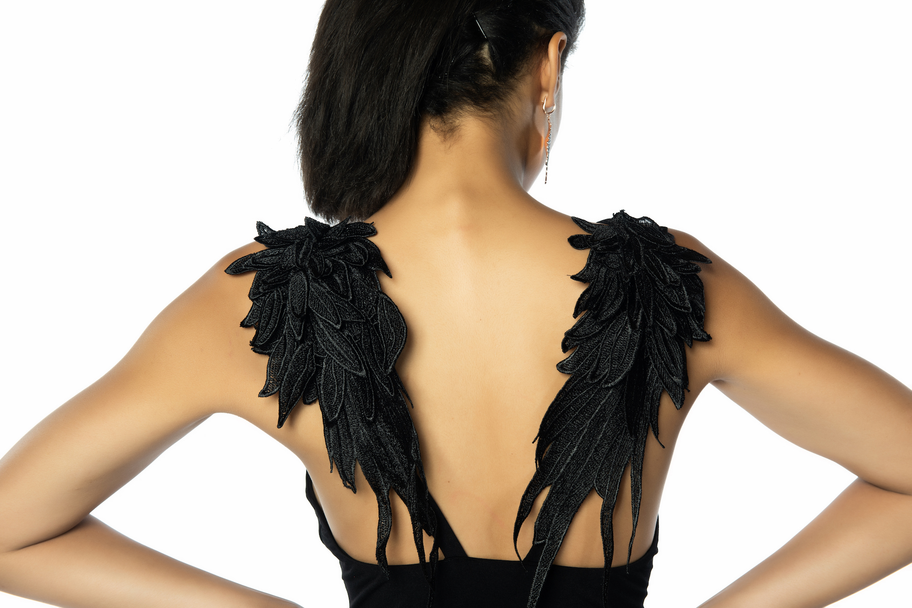 Black tango dress angel wings