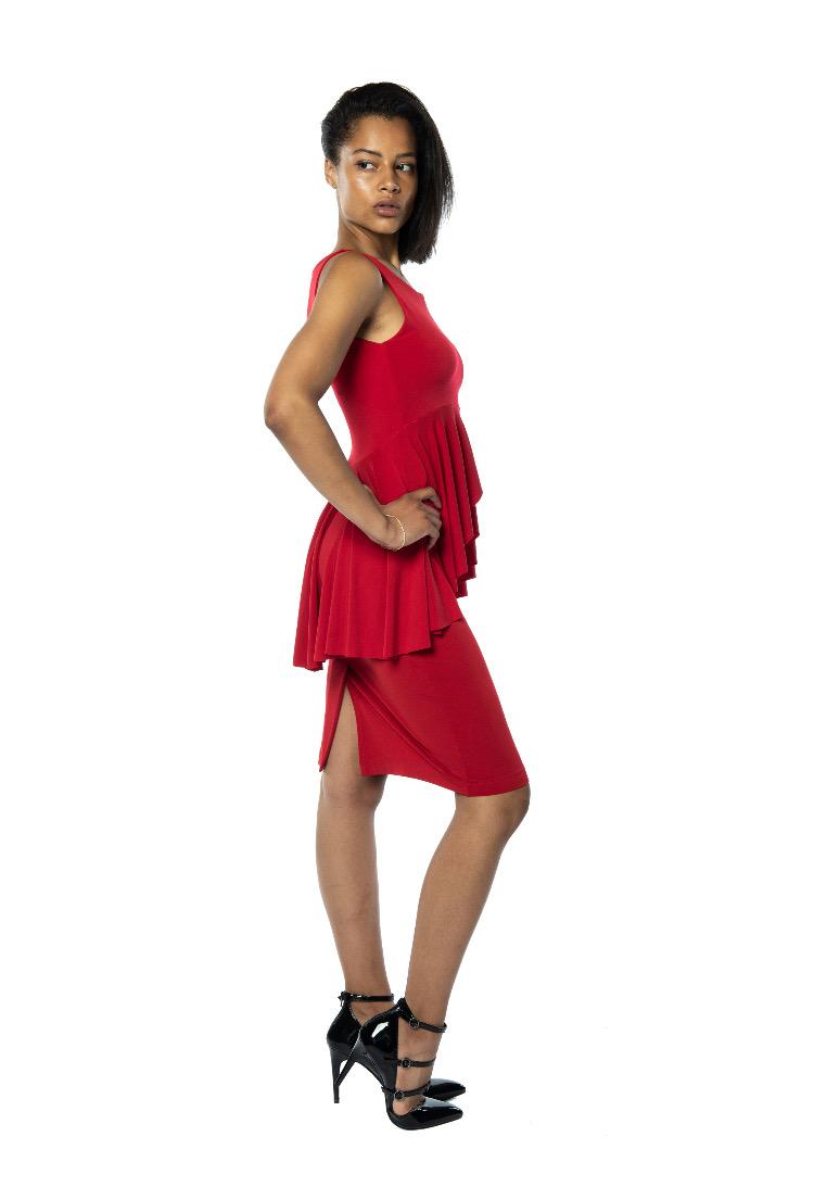 A red high waist tango top
