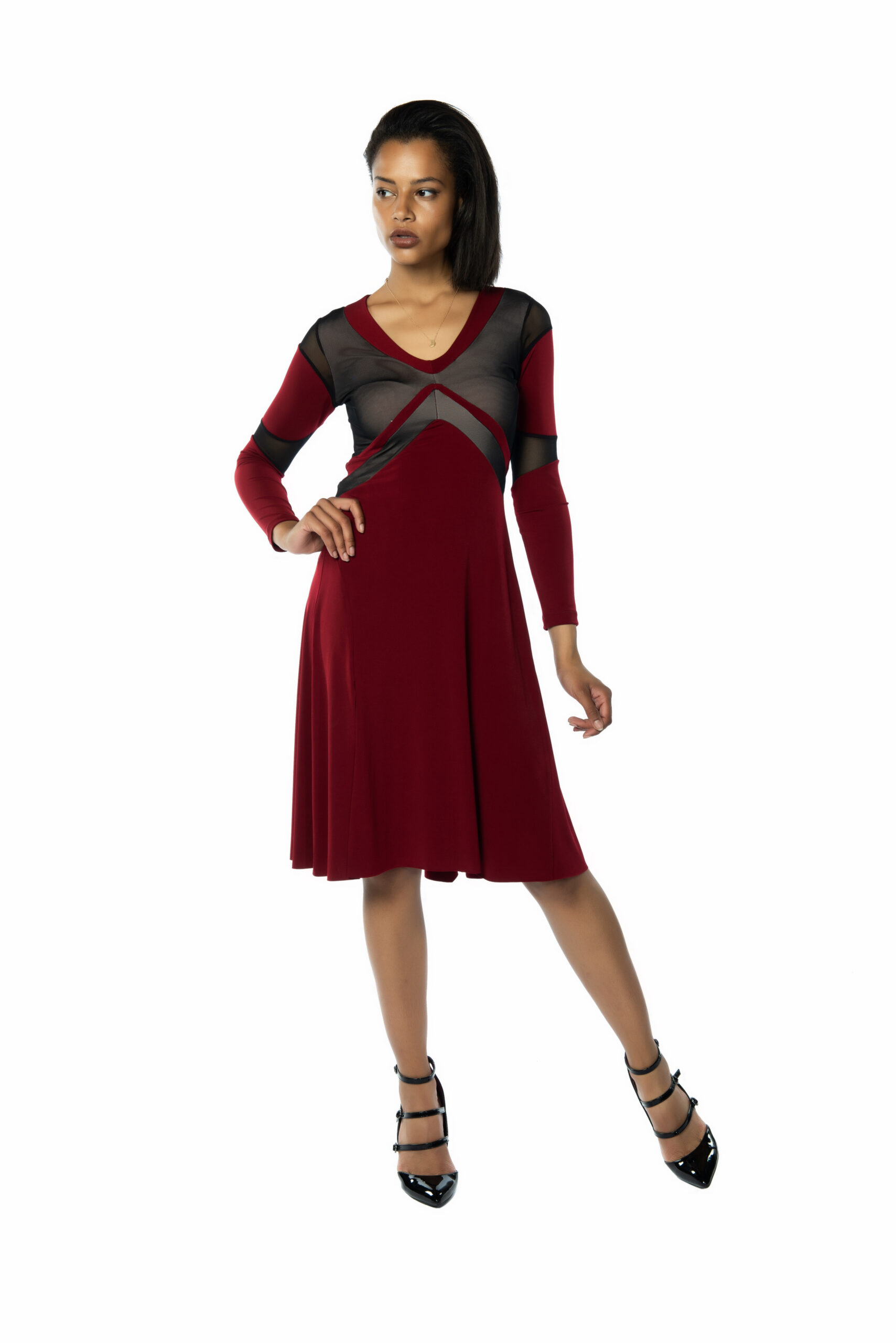 Bordeaux Tango Dress with long sleeves