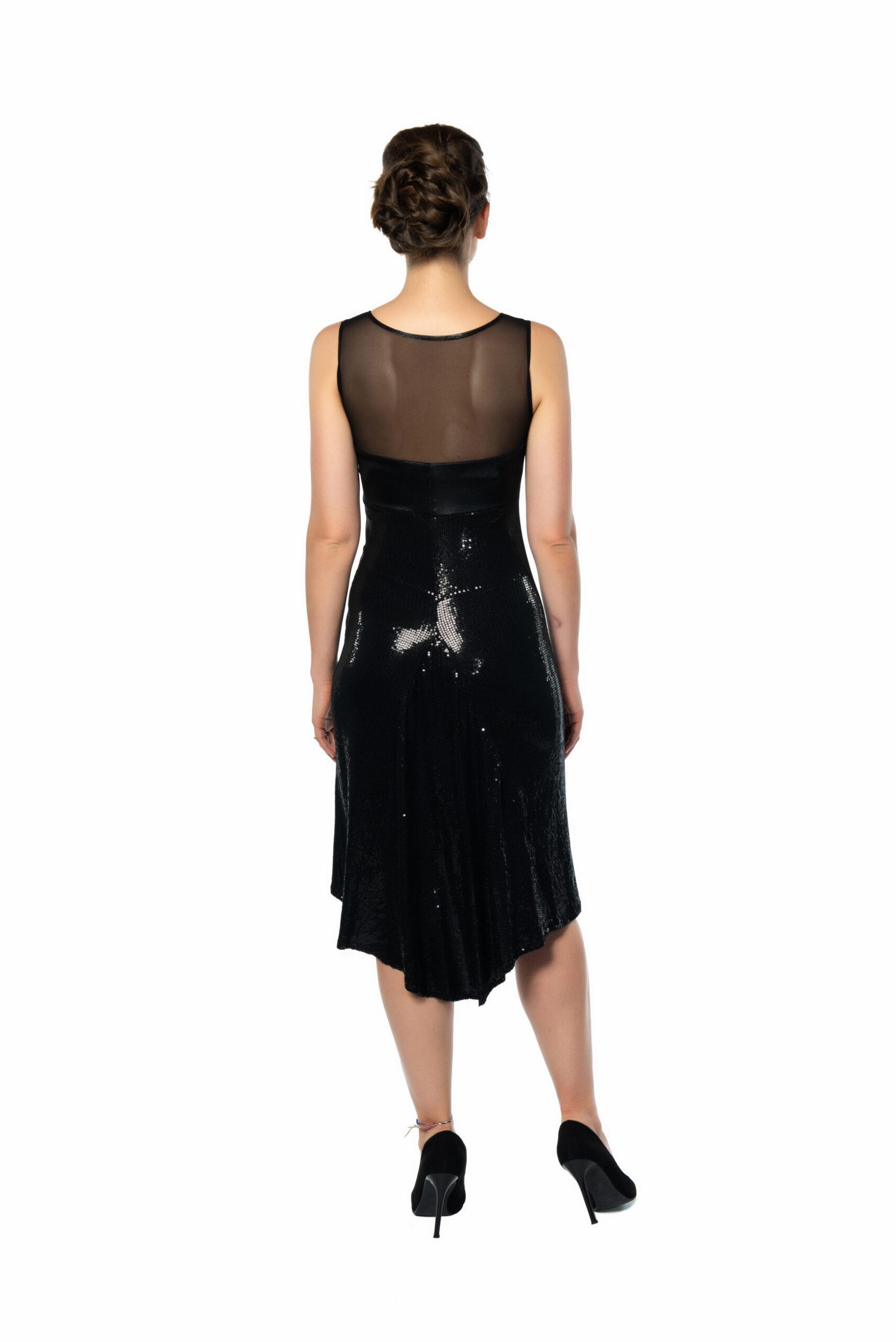 black sequins tango dress