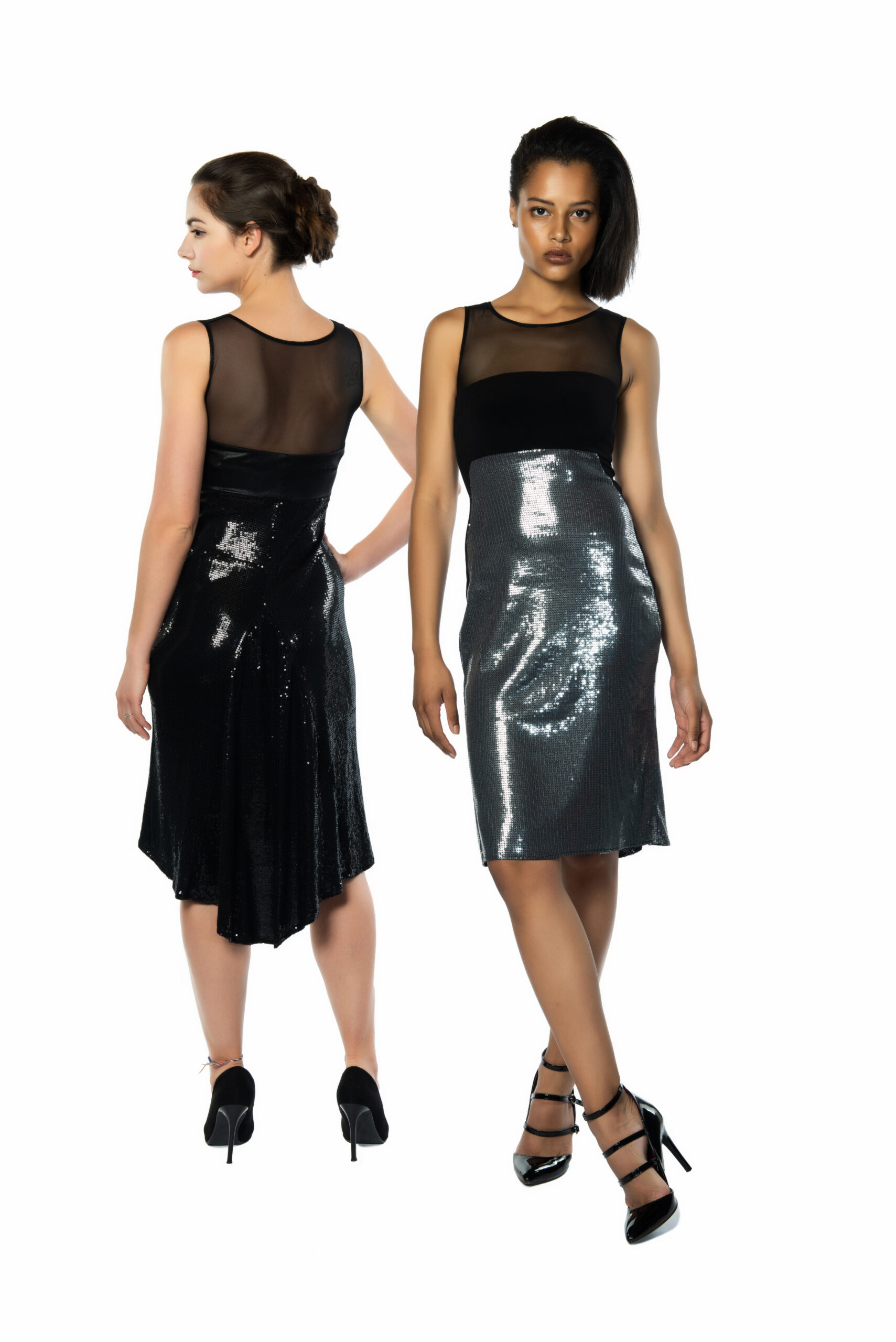 Silver and black sequins tango dress