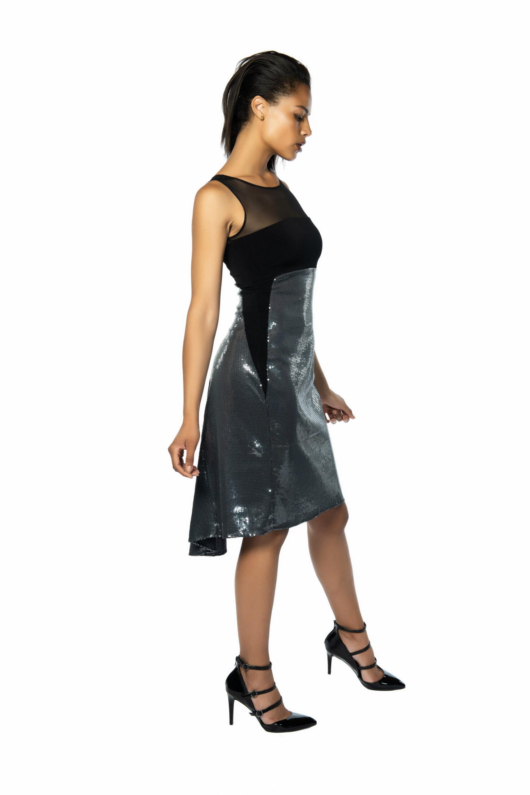 Silver sequins tango dress