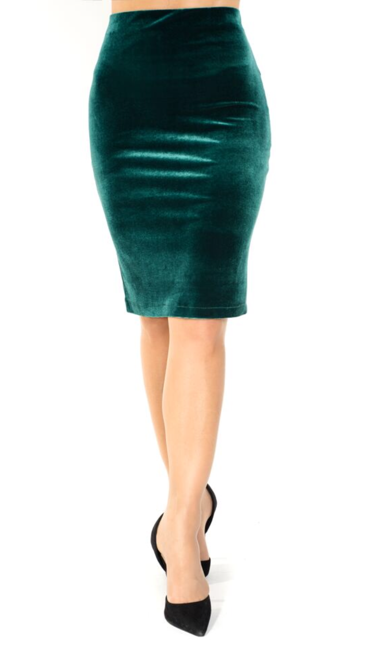 green velvet Pencil Tango Skirt