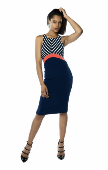 Fitted tango dress pencil skirt Blue Berlin
