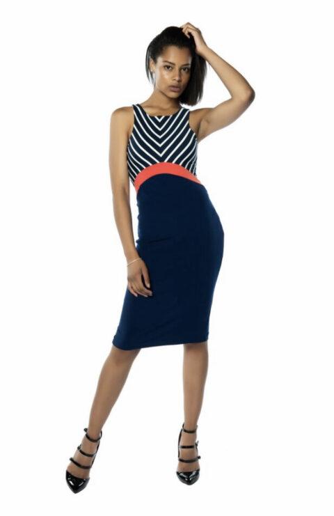 Fitted tango dress pencil skirt Blue Berlin