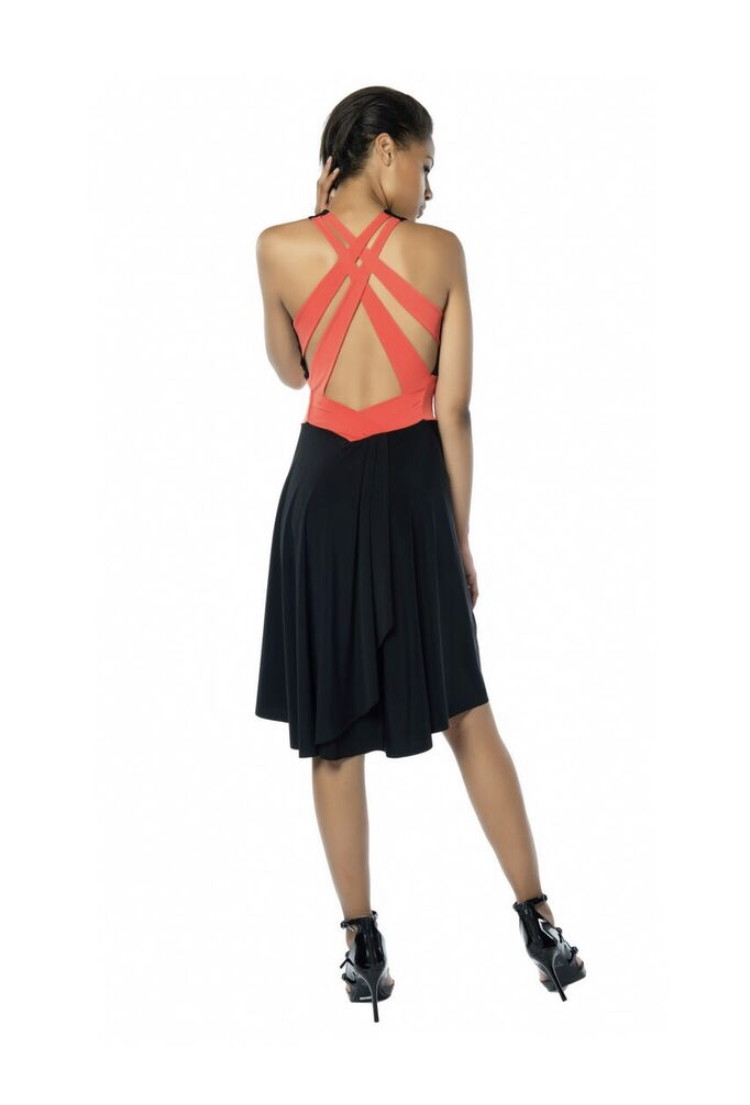Sexy Tango Dress Black and coral
