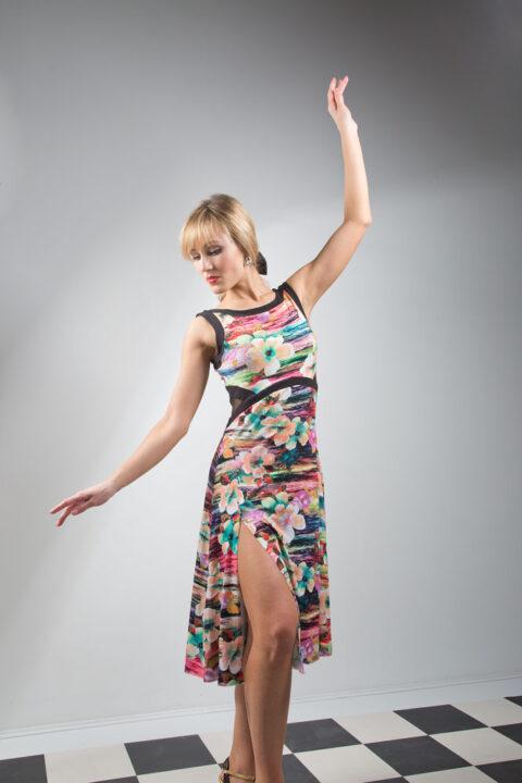 Viscose jersey printed dress for Tango dancing