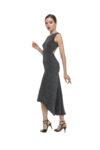 A grey naked back knot tango dress