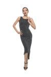 An elegant grey naked back knot tango dress