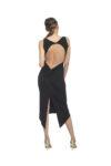 A black naked back knot tango dress