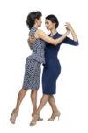 Two dancers wearing ortigia dresses