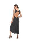 A beautiful grey naked back knot tango dress