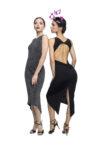 A black and grey naked back knot tango dress