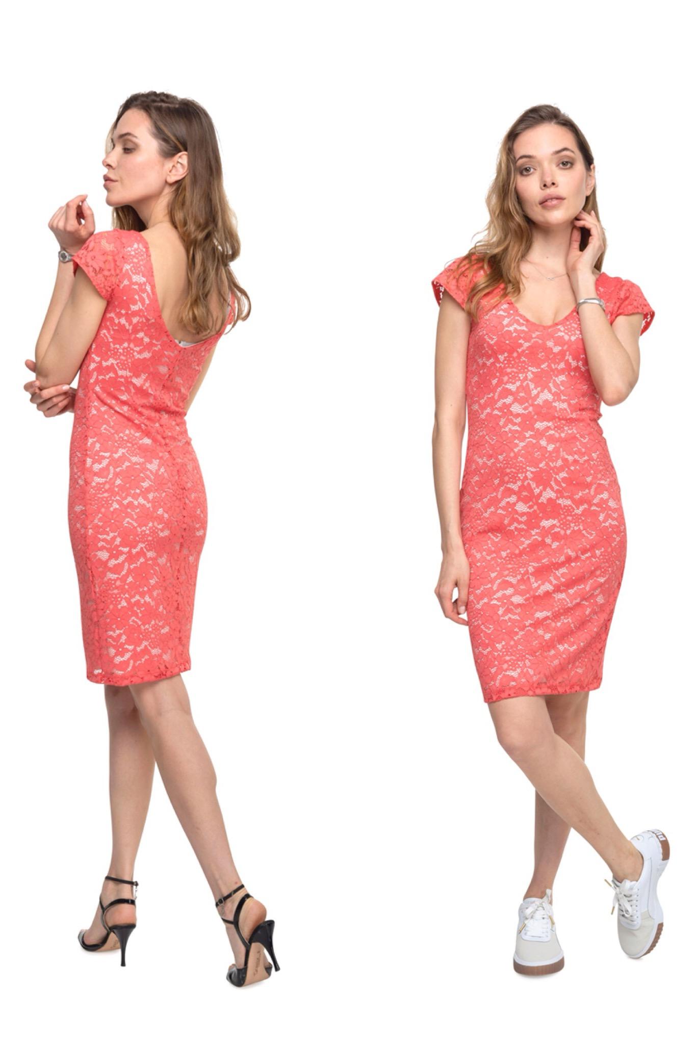 A woman wearing a pinkish Tango dress