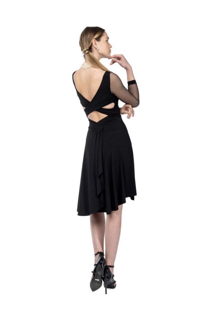 Black Tango dress silver glitter sleeves