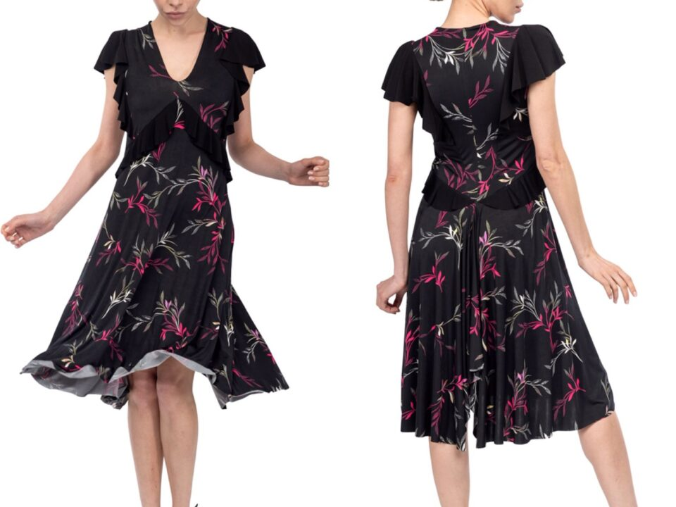 Large sizes Black Floral Argentine Tango Dress