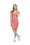 A pink lace tango dress