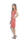 A side view of a pink lace tango dress