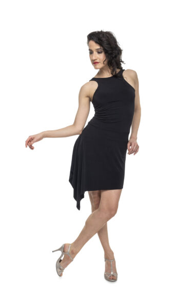 A black Tango dress with silver heels